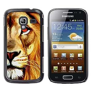 TopCaseStore / la caja del caucho duro de la cubierta de protección de la piel - Watercolor Lion Orange Art Painting - Samsung Galaxy Ace 2 I8160 Ace II X S7560M