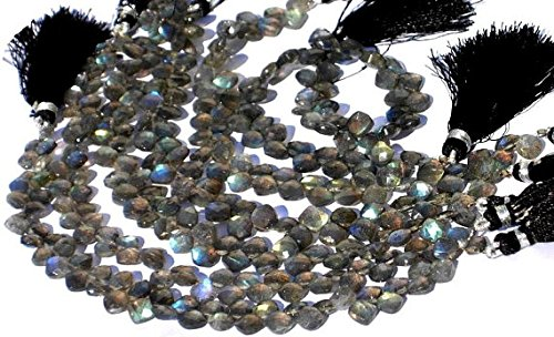 Full 8 inches Strand. - Blue Flashy Genuine Labradorite Faceted Cushion Briolettes Size 8x5-9x7mm