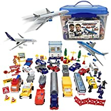 Liberty Imports Deluxe 57-Piece Kids Airport Playset in Storage Bucket with Toy Airplanes, Play Vehicles, Police Figures, and Accessories