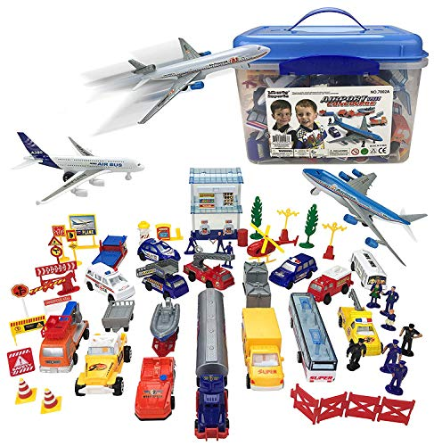 - Liberty Imports Deluxe 57-Piece Kids Commercial Airport Playset in Storage Bucket with Toy Airplanes, Play Vehicles, Police Figures, and Accessories