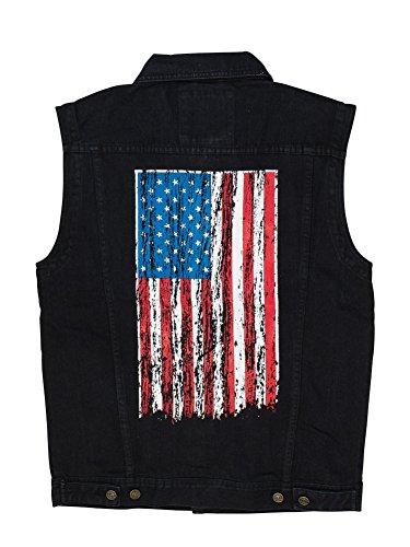 North 15 - Men's American Flag Denim Vest - Medium, Denim