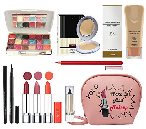 volo All In One Professional Women's Makeup Kit (3 Pcs Lipsticks,1 Eye Shadow, 1 Lip liner,1 Foundation,1 Eyeliner, 1 Compact, 1 Kajal, 1 Pouch) Set of 10 Pcs (orange)