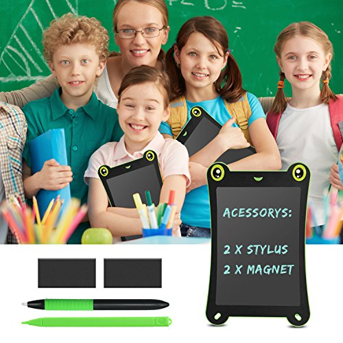 WOBEECO LCD Writing Tablet Frog Pad Children Doodle Pad Scribble Game Magnetic Drawing Board Kid's Fun Toy Smart Learning Tool 2 Styluses Included (Blue) by WOBEECO (Image #4)
