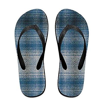 HXXUAN Unisex Non-slip Flip Flops Buffalo Plaid Blue Cool Beach Slippers Sandal