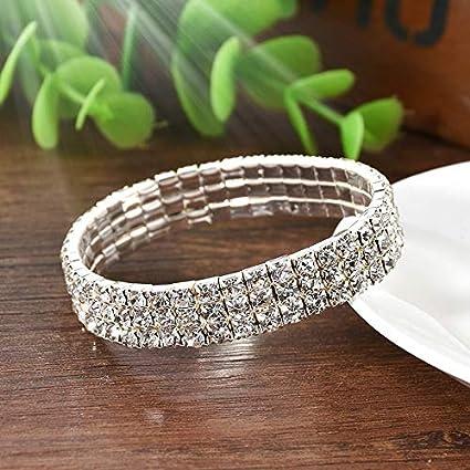 7ee4f09ae53 Amazon.com: Werrox Elastic Crystal Rhinestone Bangle Wristband Bracelet  Stretch Wedding Bridal Gift   Model BRCLT - 22155  : Arts, Crafts & Sewing