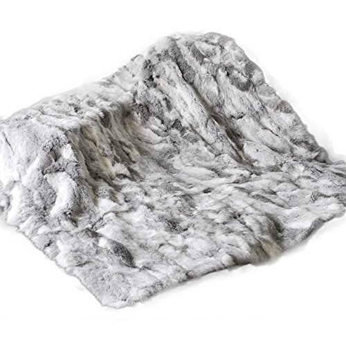 Manka Vesa Real Rabbit Fur Blanket Rug Bed Real Fur Good Buy Hot Carpet 78'' X 70'' Tache Natural Grey