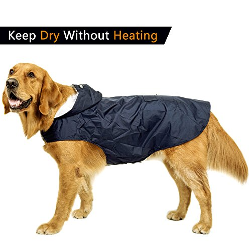 Leepets Medium Large Dog Raincoat with Hood Lightweight Breathable without Overheating Rain Jacket Coat Clothes Slicker for Large Dog (Chest 30''-35'', Navy) by Leepets