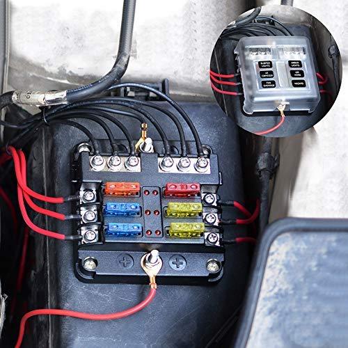 EEEKit 6-Way Fuse Box Blade Fuse Block Holder Screw Nut Terminal W//Negative Bus 5A 10A 15A 20A Free Fuses LED Indicator for Automotive Car Marine Boat