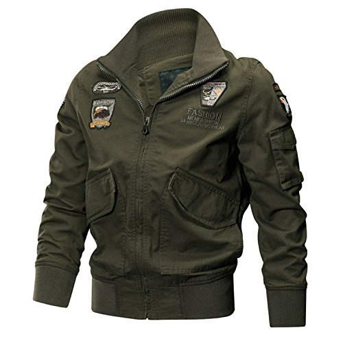 Catwomanfun Military Jacket Men Winter Cotton Jacket Coat Army Pilot Jackets Air Force Cargo Coat Spring Slim Type Army Green M (Air Force Cargo)