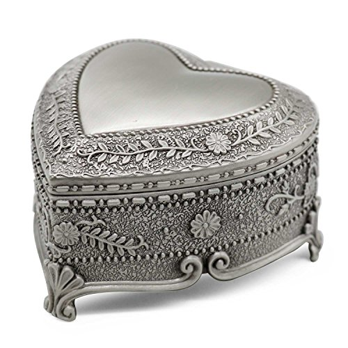- AVESON Classic Vintage Heart Shape Metal Jewelry Box Ring Trinket Storage Organizer Chest Christmas Gift