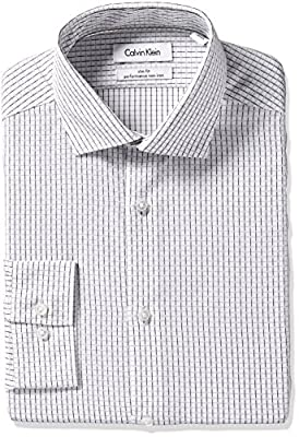 Calvin Klein Men's Slim Fit Non Iron Textured Check Shirt