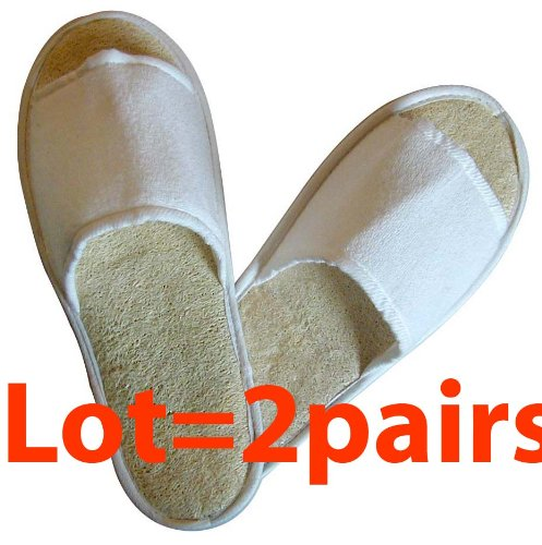 Touch Me (TM) Natural Loofah Spa Massage Slippers (Set of 2 pairs)