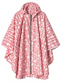 LINENLUX Waterproof Rain Poncho Jacket Coat for Adults Hooded with Zipper(Pink Floral)