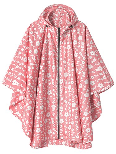 - Waterproof Rain Poncho Jacket Coat for Adults Hooded with Zipper(Pink Floral)
