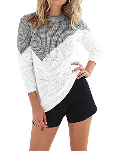 Meilidress Womens Knitted Color Block Sweaters Pullover Long Sleeve Crew Neck Casual Tunic Tops
