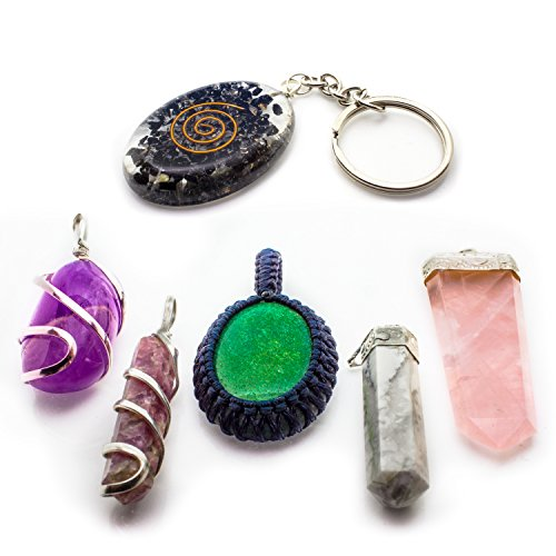 Healing Crystal Necklace Set 6 Pendants – Raw Natural Gemstones for Reiki Love Prosperity Success Abundance Chakra Balancing Birthstones EMF Protection Rose Quartz Amethyst Howlite Orgone - Heart Necklace Green Stone Natural