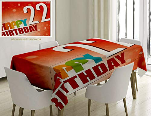 Unique Custom Cotton And Linen Blend Tablecloth 22Nd Birthday Decorations Invitation To Happy Celebration Of A New Age Bokeh Style Art Print Red WhiteTablecovers For Rectangle Tables, 60 x 40 Inches]()