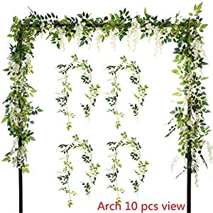 Greentime 4Pcs Artificial Flowers 6.6ft/Piece Silk Wisteria Ivy Vine Green Leaf Hanging Vine Garland for Wedding Party Home Garden Wall Decoration 17