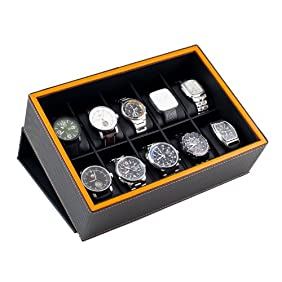 Caddy Bay Collection Watch Case Display Box Holds 10 Large Watches with Black Carbon Fiber Pattern Exterior and Lava Orange Trim