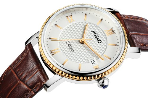 Jiusko Mens 24 Jewel Automatic Dress Wrist Watch - Sapphire - Exhibition Caseback - Date - Blue Hands - Brown Leather Strap - 140MRG0109 by JIUSKO