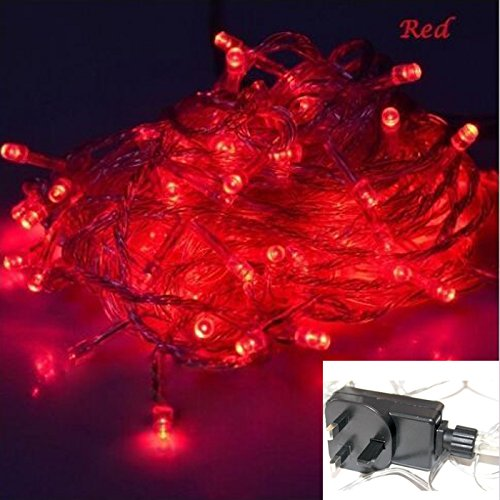 100/200/300 Waterproof LED 12M/22M/32M String Fairy Lights Christmas Xmas Party, Festive Lights, Birthday Party Lights Indoor/Outdoor with UK Plug(No Battery Required) (Red, 300LEDs) Rezolo