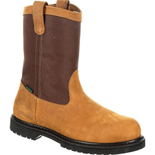 (Lehigh Safety Shoes Men's Steel Toe Waterproof Electrical Hazard Rated Brown Wellington Work Boots)