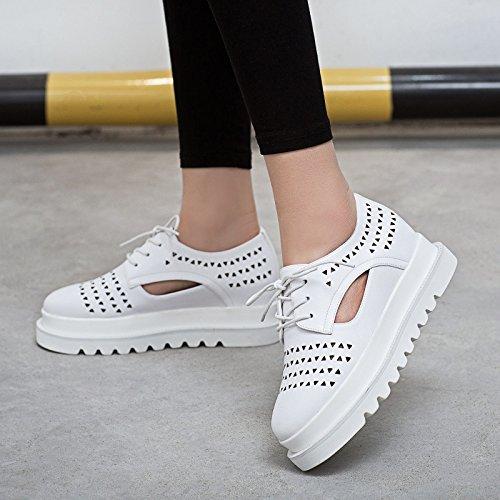 las manera White zapatillas flatform hueca de la libre Zapatos cuero oficina carrera blancos de aire la comodidad ocasional patente LvYuan talón de de plano de y respiración zapatos mujeres al CtOpqw