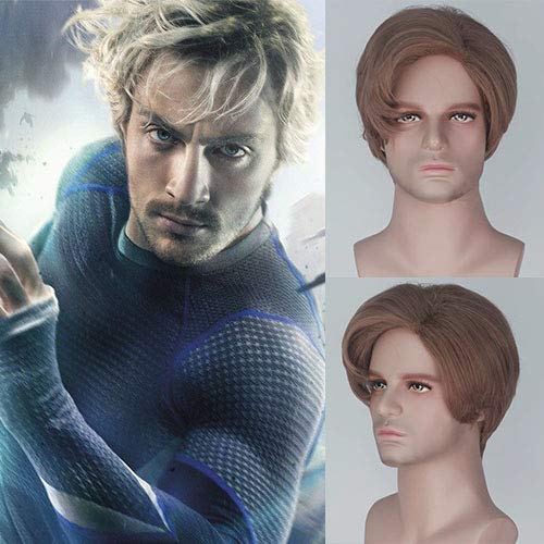 Avengers Quicksilver Costume (Party Queen New Style The X-Men Quicksilver Pietro Django Maximoff Cosplay Wigs Unisex Short Side Part Natural Brown Color Synthetic Cosplay Costume Wig)