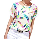 Search : 2018 Women Feathers Chiffon Blouse Tops Casual Short Sleeve Loose T-Shirt TOPUNDER
