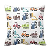 """Trendy Throw Pillow Case Decorative Pillow Cover Square Accent Construction Vehicles Cushion Cover for Sofa and Couch 18 x 18"""""""