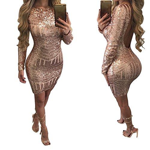 Oro Sexy DOGZI Mochila Cadera Lentejuelas Abierta Espalda Vestidos Vestido Ropa Vestido de la de Moda Lentejuelas largas Mujer Cadera Fiesta de Mangas qfZxfw1t