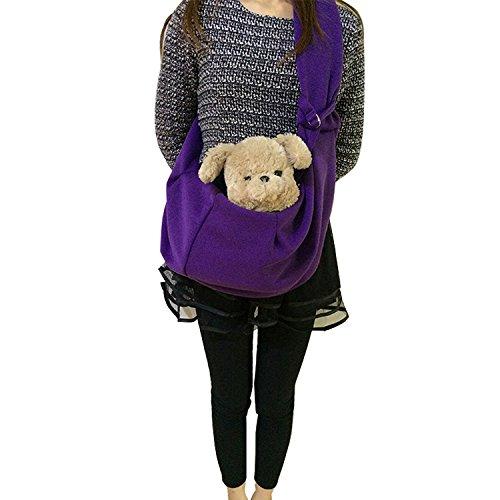 Pineocus Cotton Blend Pet Dogs Sling Carrier Bag (Purple)