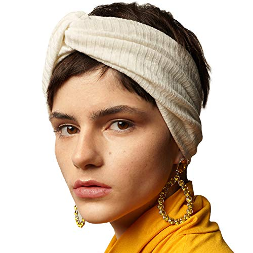 - BLOM Women's Ribbed Twist Headband. Limited Edition Thick Fabric Turban Headband (White Cream)