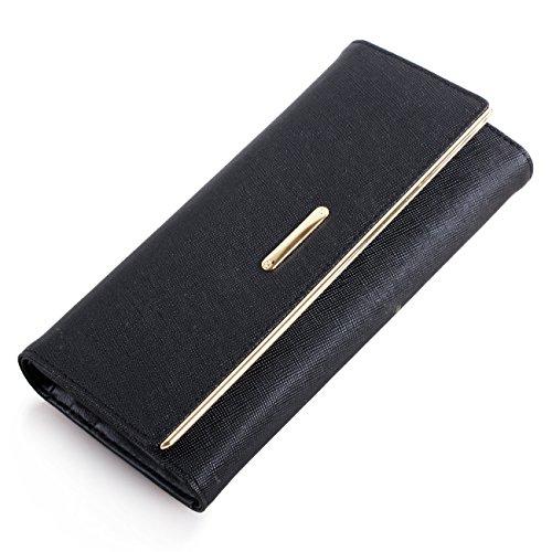 VANCOO Saffiano Leather Wallet grande capacità del supporto di carta lunga zip borsa (Nizza pacchetto) (Black)