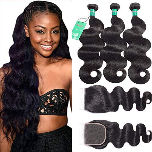 RABAKE Virgin Human Hair Bundles With Free Part Closure Unprocessed 10A Body Wave 100% Human Hair 3 Bundles With Closure New Arrivals Big Deals 100% Human Hair Natural Color (10 12 14+10 Closure)