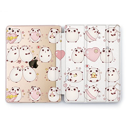 Wonder Wild Panda Pattern Print Case IPad 9.7 2017 A1822 A1823 2018 A1893 A1954 Air 2 A1566 A1567 6th Gen Clear Design Smart Hard Cover Panda Chubby Adorable Girls Pattern Kids Pink Love Flip Stand