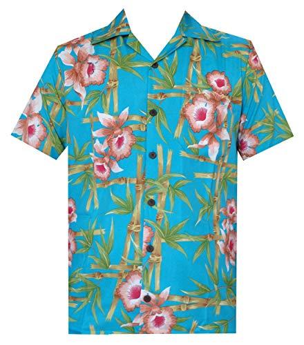 Hawaiian Shirts 51 Mens, Flower Bamboo Beach Aloha Casual Holiday Turquoise XL