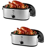 Oster 26-Pound Roaster Oven with Self-Basting Lid, 22-Quart, CKSTRS23-SB (2 Pack)