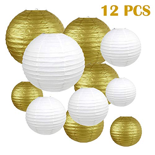 We Moment Gold and White Paper Lanterns Hanging Paper Lanterns for Party Decorations,8