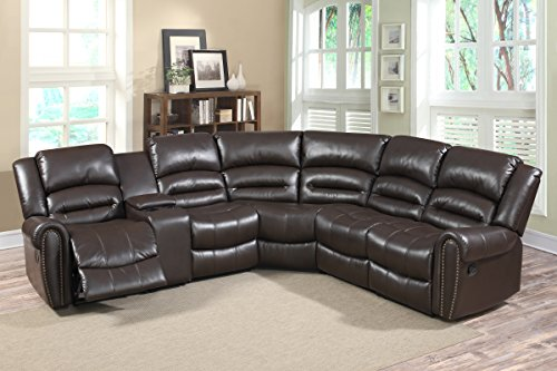 U.S. Livings 6-Piece Dark Brown Faux Leather Modern Reclining Sectional sofa set with Console Review