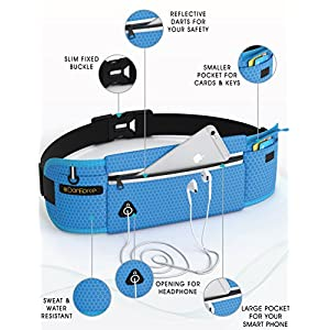 Running Pouch Belt - iPhone 6 Plus Holder Reflective Waist Pack for Runners - Best Fitness Fanny Packs For Men and Women - Water Resistant, Holds Phones with Headphones Jacks for Workout By DanForce