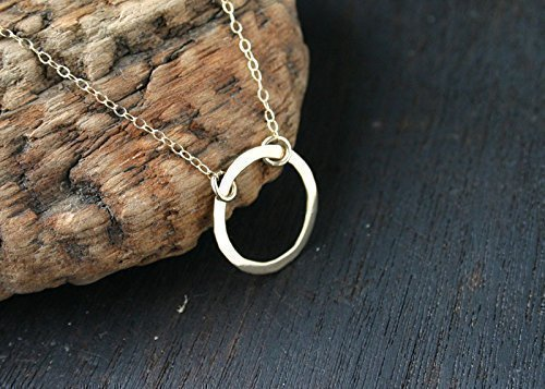 Solid Gold Circle Necklace. Gold Open Circle Pendant Gold Karma Necklace. Handmade by Jane Fuller Designs