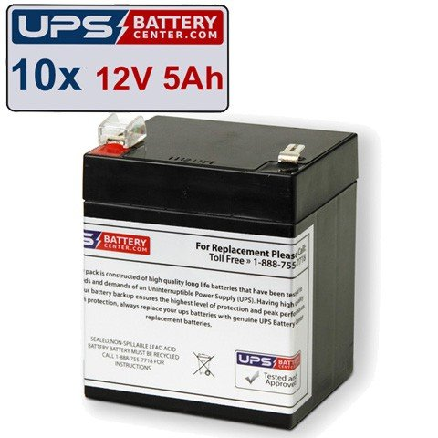 ((10) 12V 5Ah F2 - HP UPS R3000 XR, R3000XR Replacement Battery Set by UPSBatteryCenter)