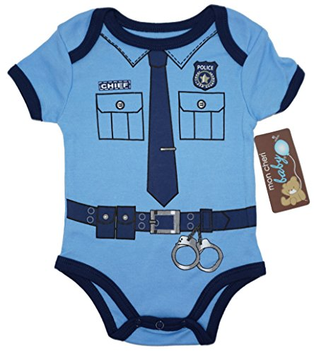Mon Cheri Baby (6-9) The Policeman Funny Baby Boy Girl Novelty Uniform Costume One Piece Infant Cute Bodysuit - Funny Girl Costumes