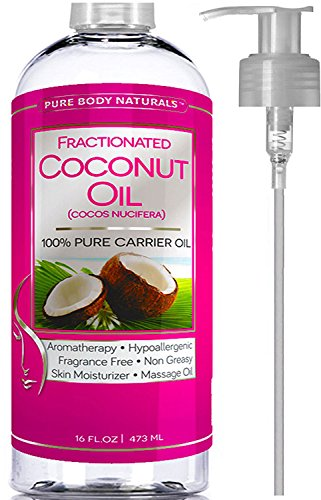 Premium Fractionated Coconut Oil 16 oz - Finest Coconut Oil Carrier Oil Massage Oil by Pure Body Naturals