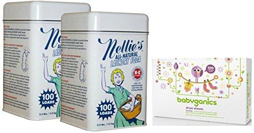Nellie's Laundry Soda Tin, 2 Pack with Babyganics Dryer Sheets