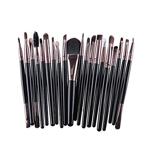 AMarkUp 20 Pcs Pro Makeup Brush Set Powder Foundation Eyeshadow Eyeliner Lip Clearance Cosmetics Brush (Black+Coffee)