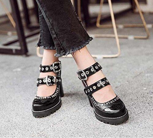 Heel Shoes Court Color 41 Mary Pump Jane 5cm Shoes Punk Chunly Handsome Match Toe Shoes Women Round Rivets Eu Heels Size 10 Dress Black High Shoes 35 4xwPaxt