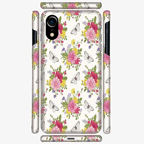 Phone Case Compatible with 3D Printed iPhone X/XS DIY Fashion Picture,Sweet Peas Bell Colorful Bouquet Butterflies,Personalized Designed Hard Plastic Cell Phone Back Cover Shell Protective
