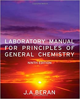laboratory manual for principles of general chemistry by beran jo allan wiley2010 paperback 9th edition